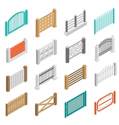Fences Types Elements Icons Isometric Collection vector