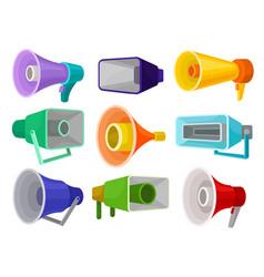 flat set of different megaphones loud vector image