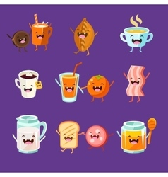 Fun Breakfast Food with cute faces happy vector
