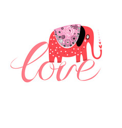 funny red elephant in love on inscription love vector image
