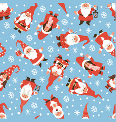 gnomes seamless pattern christmas dwarfs in red vector image