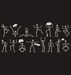 halloween skeletons dancing skeletons spooky vector image