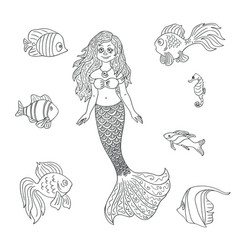 Hand drawn mermaid and fish isolated on the white vector