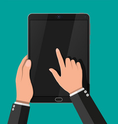 hand touching screen of black tablet computer vector image