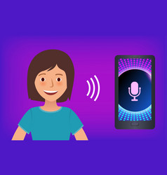 Happy girl on purple background with mobile phone vector