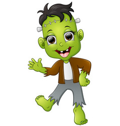 happy little frankenstein cartoon vector image