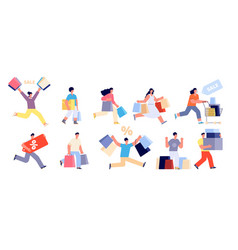happy people on sale shopping man shop woman vector image