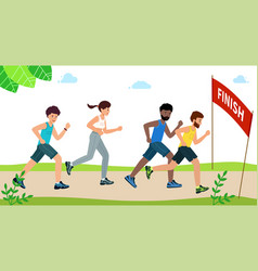 Happy people run a marathon and reach finish vector