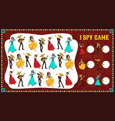 I spy game dia de los muertos characters riddle vector