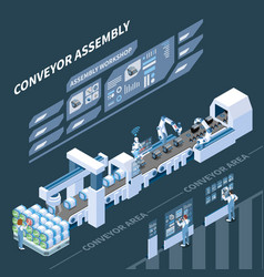 intelligent manufacturing isometric composition vector image