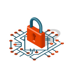 isometric web security technology digital internet vector image