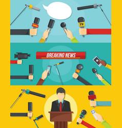 Journalism news banner concept set flat style vector