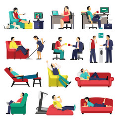lazy and tired people set vector image