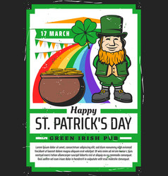leprechaun pot gold clover and rainbow vector image