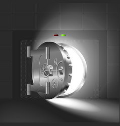 Light half-open door safe steel vector