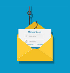 login into account in email envelope vector image