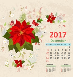 Lovely christmas poinsettia arrangement on grunge vector