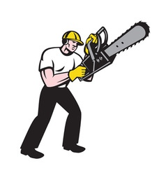 Lumberjack Tree Surgeon Arborist Chainsaw vector image