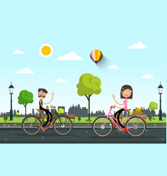 man and woman on bicycles on road with city vector image