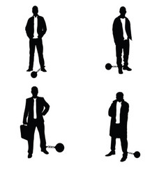Man silhouette with prision ball in black vector
