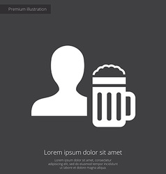 Man with beer glass premium icon white on dark bac vector