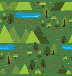mountain lakes outdoor scene seamless pattern vector image