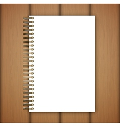 Open notebook page on wooden background vector