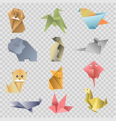origami paper cartoon animals birds and fishes vector image