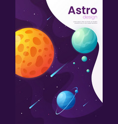 outer space futuristic cartoon background cover vector image