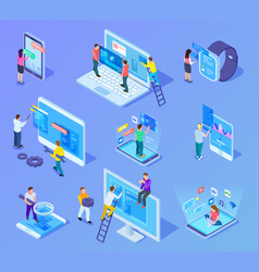 people and app interfaces isometric concept users vector image