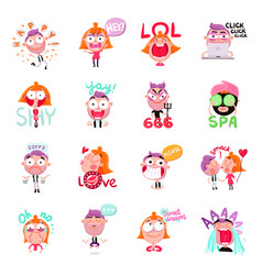 people stickers set vector image
