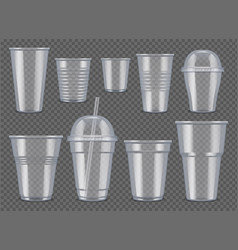 plastic vessel transparent cups and mugs vector image
