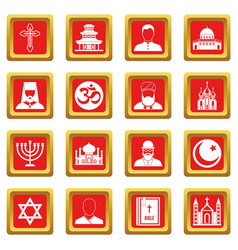 Religious symbol icons set red vector
