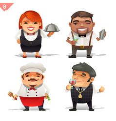 Restaurant professions set vector