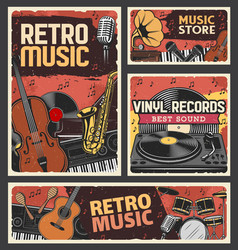 retro music music store and vinyl records banner vector image