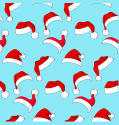 santa hats pattern vector image