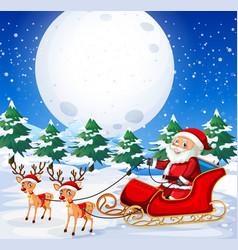 santa riding sleigh outdoor vector image
