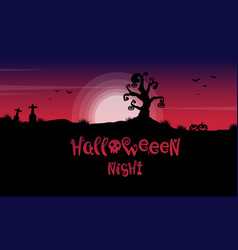 scary landscape in grave for halloween vector image