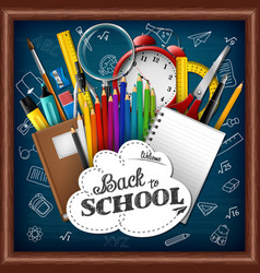school background with school supplies chalkboard vector image