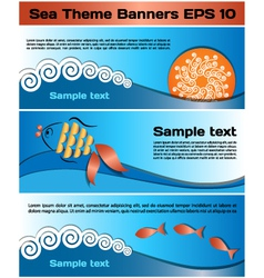 Sea theme banners vector