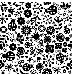 Seamless floral retro pattern - hand drawn vector