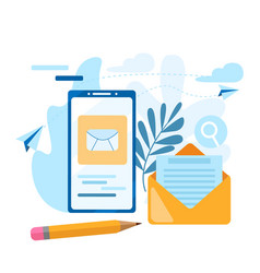 Send email concept call address book note vector