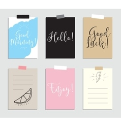 set creative 6 journaling cards vector image