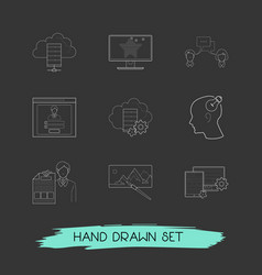 set of webdesign icons line style symbols with log vector image