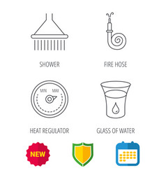 Shower fire hose and heat regulator icons vector