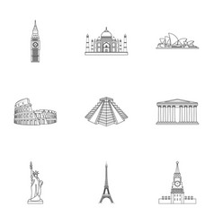 Sights of the countries of the world famous vector