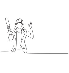 Single continuous line drawing female architect vector