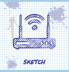 sketch line router and wi-fi signal symbol icon vector image