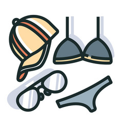 summer accessories line color icon vector image
