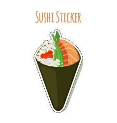 Sushi sticker asian food with fish rice label vector